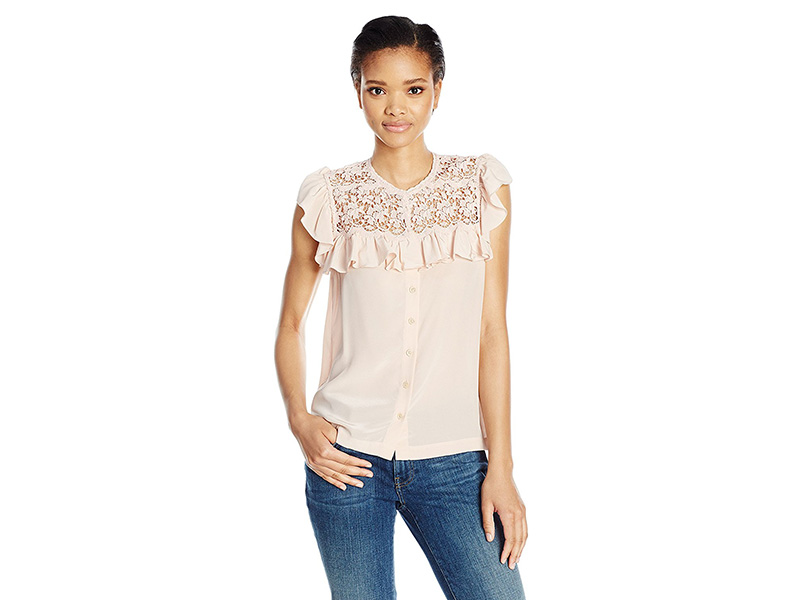 Rebecca Taylor Sl Silk Top with Lace