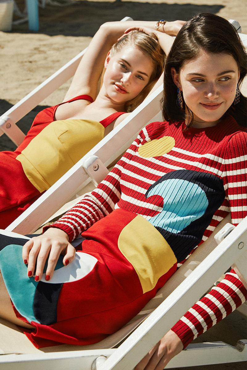 Red Valentino Viscose Knit Intarsia Wave Sweater