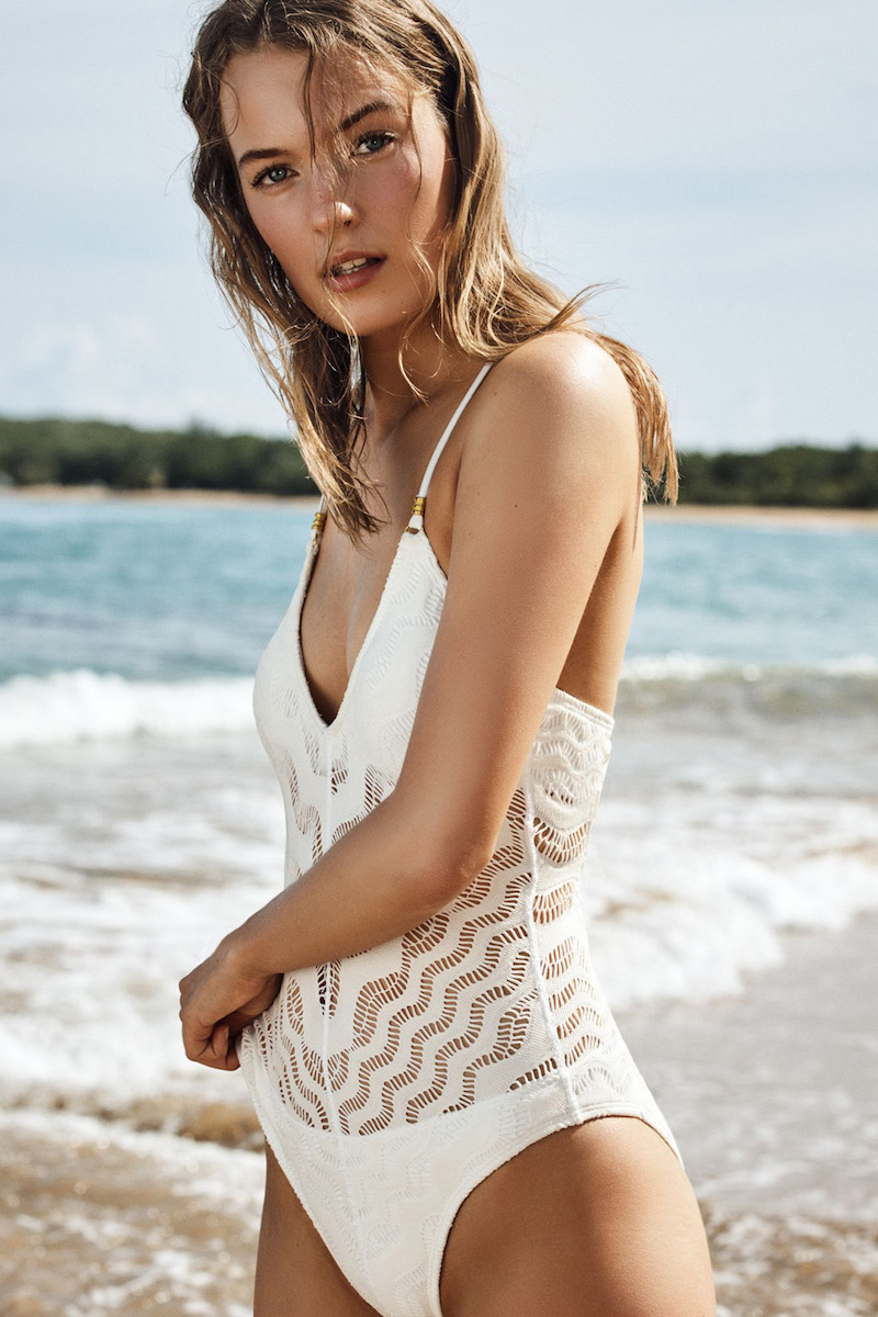 Robin Piccone Crochet One-Piece Swimsuit