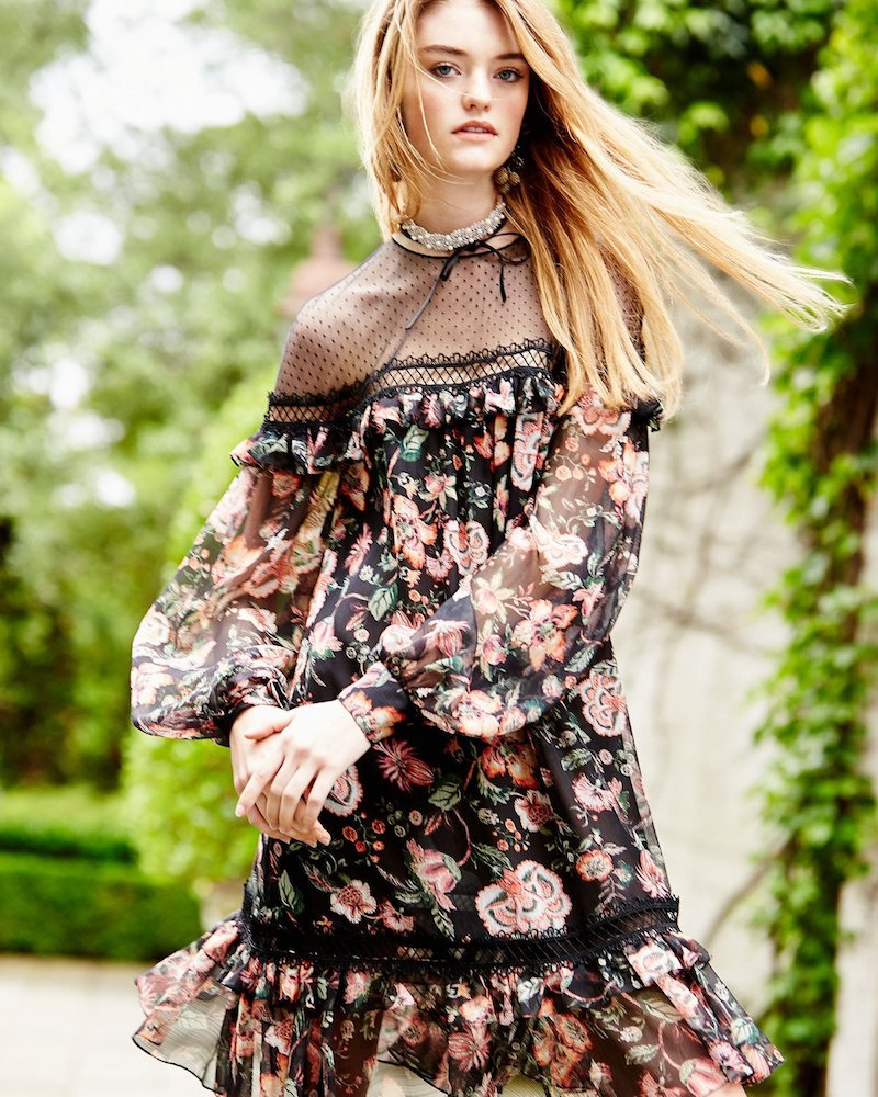 Sachin & Babi Callie Bishop-Sleeve Floral-Print Dress