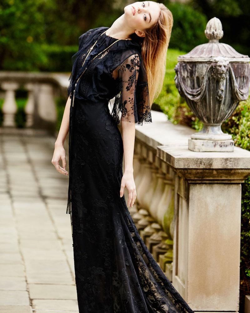 Sachin & Babi Neva Lace Capelet Gown