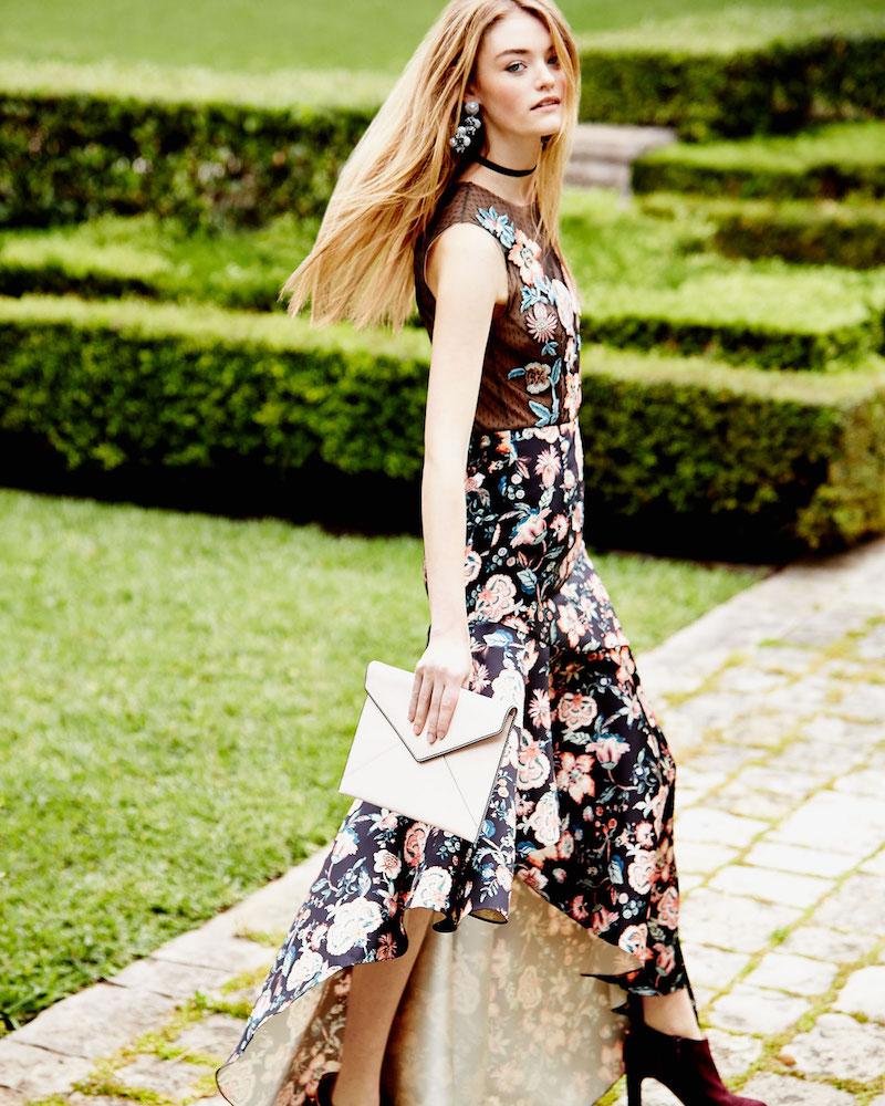 Sachin & Babi Noir Roxie Floral Point d Esprit & Satin High-Low Gown