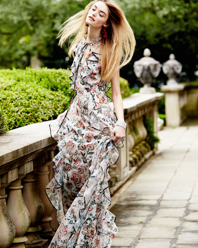 Sachin & Babi Sophie Floral-Print Ruffle Gown