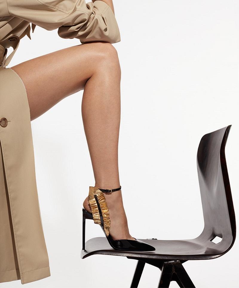Saint Laurent Edie ruffle-trimmed patent-leather pumps