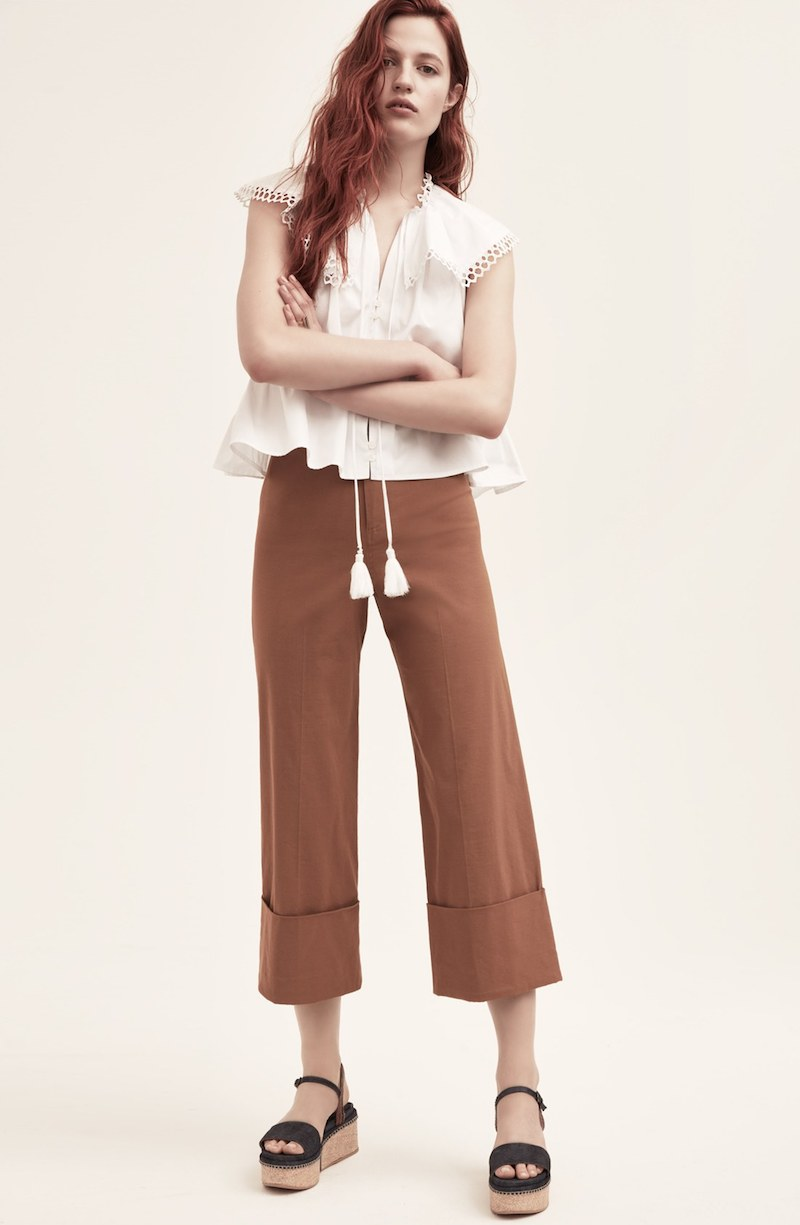 Sea Cuffed Cotton Blend Pants