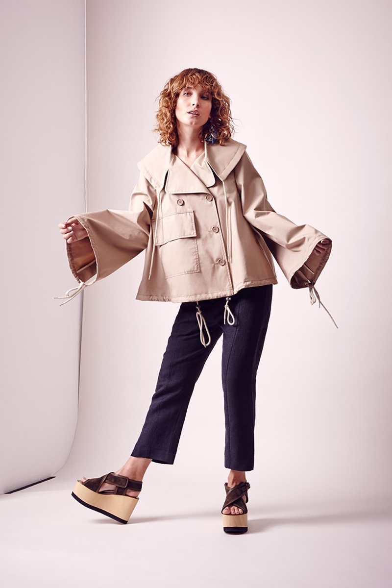 See by Chloé Double-Breasted Cropped Cotton Trench Coat