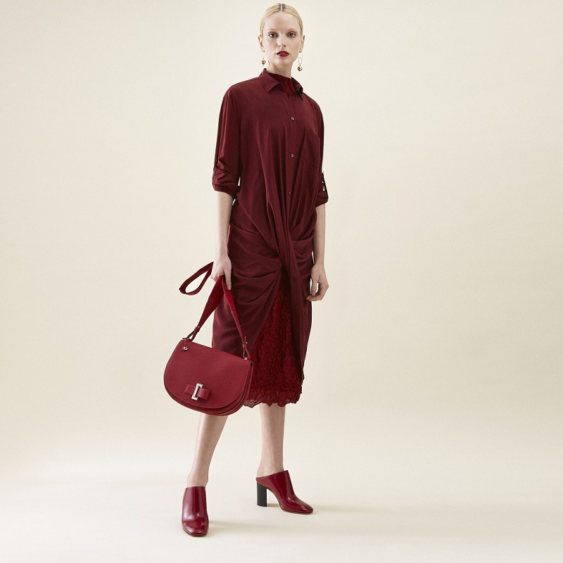 Sies Marjan Draped-Twist Silk Shirtdress