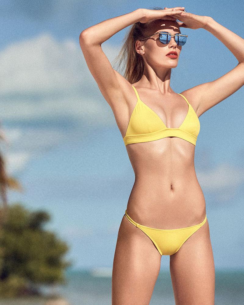 Solid & Striped The Morgan Bikini Top in Yellow