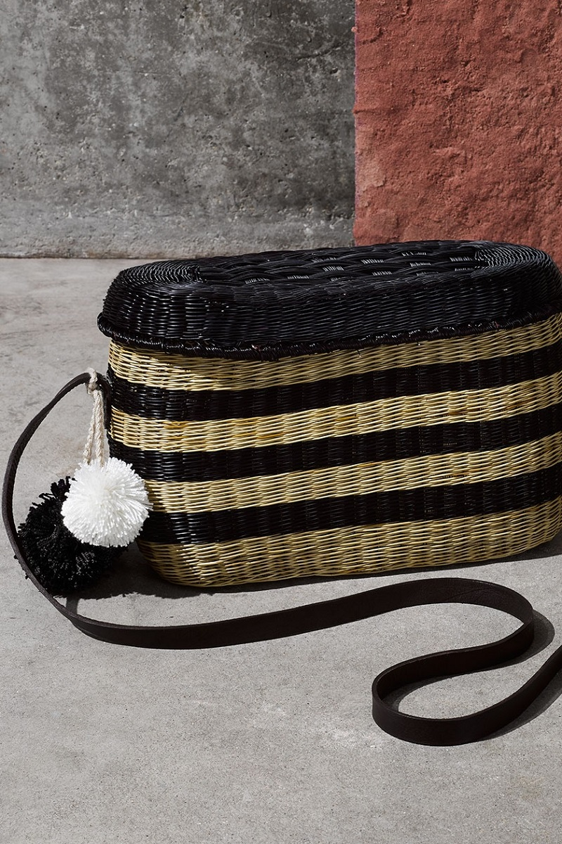 Sophie Anderson Flores striped wicker shoulder bag