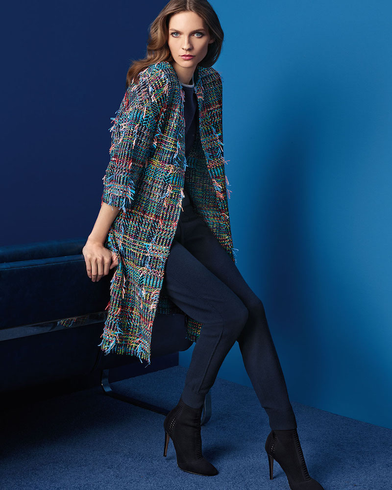 St. John Collection Dara Fringe Knit 3:4-Sleeve Topper Coat