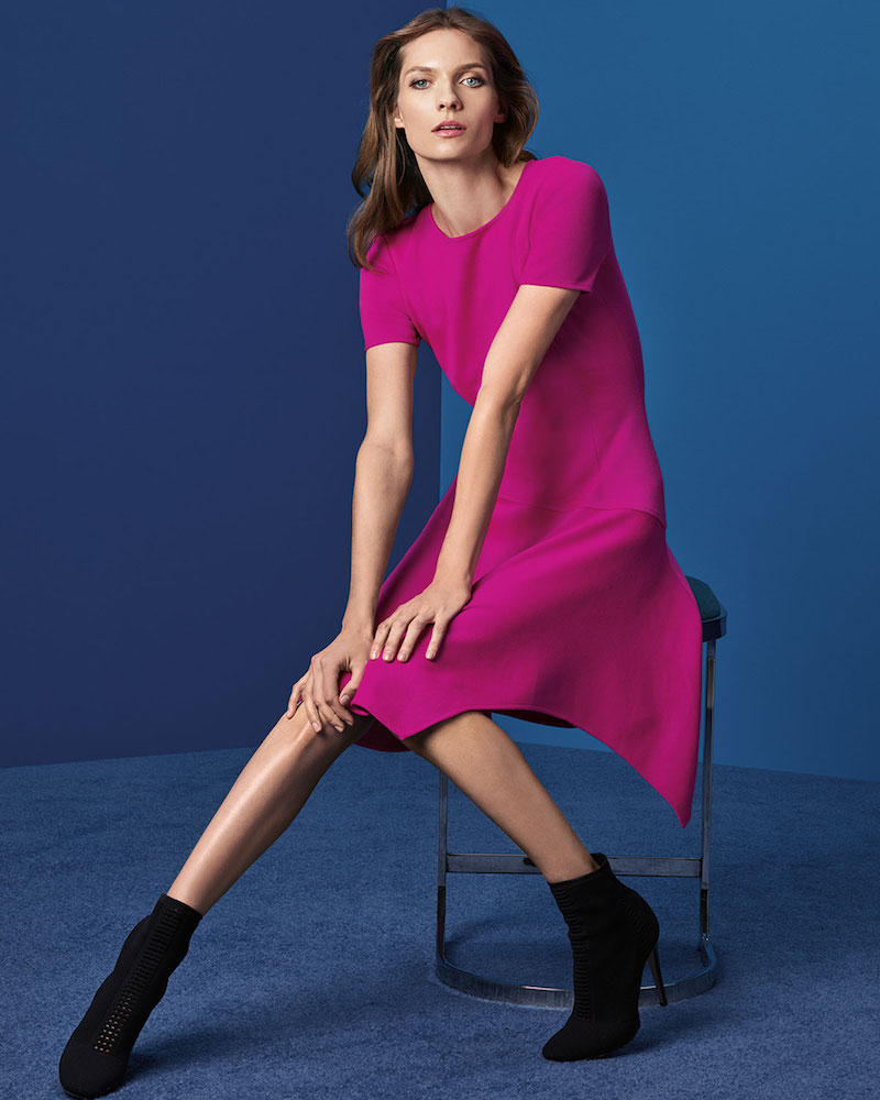 St. John Collection Milano Knit Handkerchief-Hem Dress