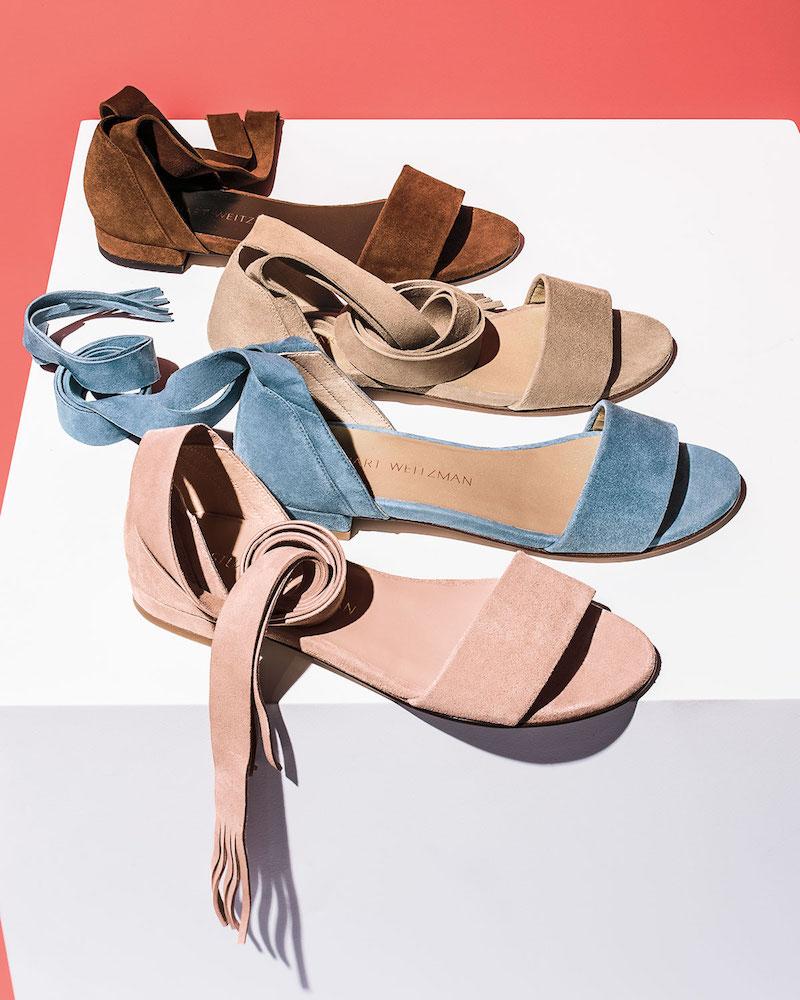 Stuart Weitzman Corbata Suede Ankle-Wrap Sandal
