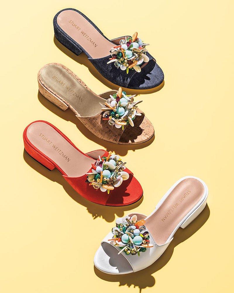 Stuart Weitzman Cupcake Beaded Slide Sandals