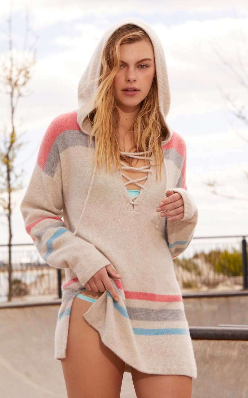 The Elder Statesman Lace Up Hooded Pullover