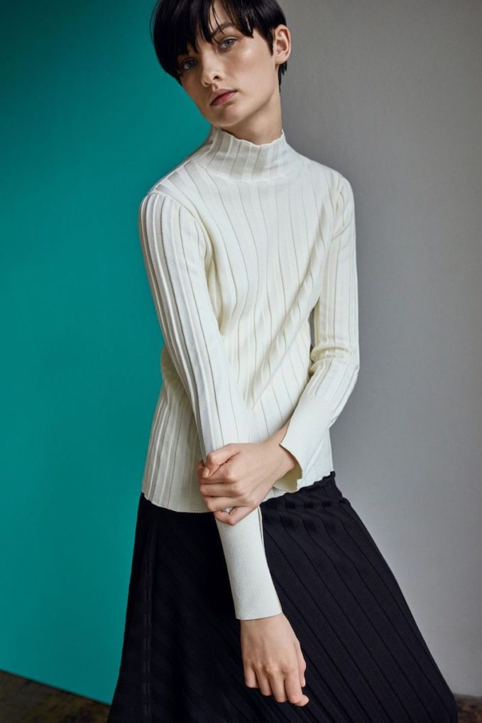 Topshop Boutique Funnel Neck Ribbed Top