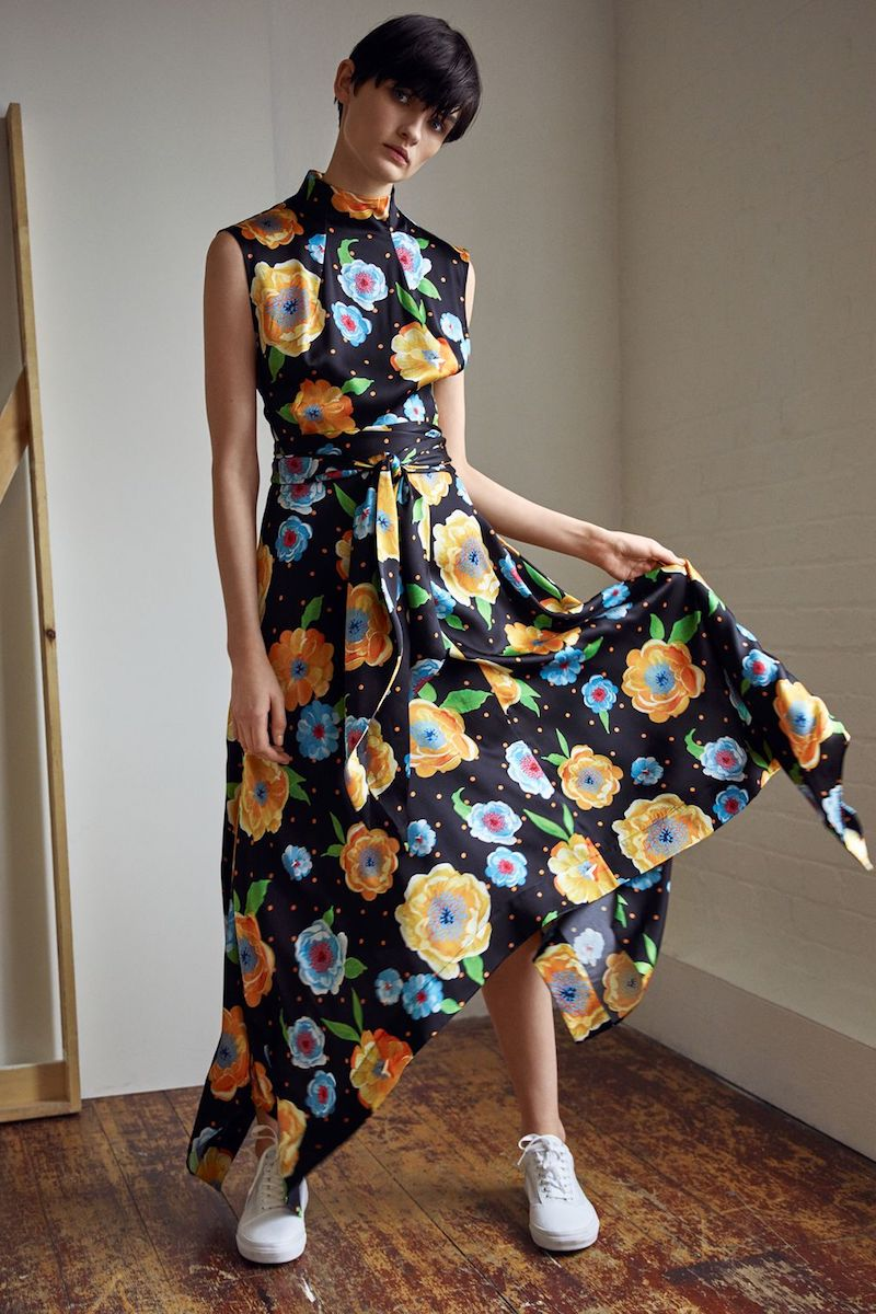 Topshop Boutique Silk Hanky Hem Printed Dress