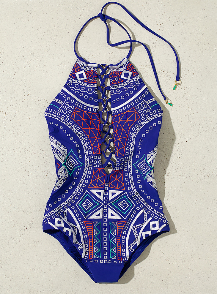 Trina Turk Jakarta Embriodery High Neck One Piece Swimsuit