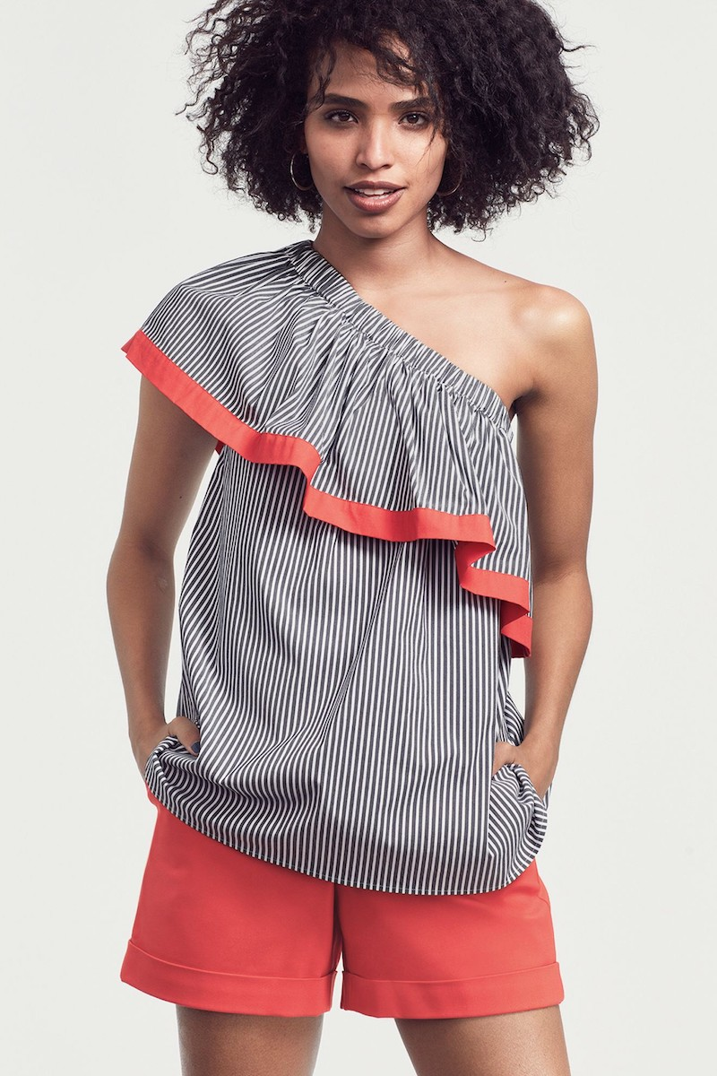 Vince Camuto Ruffle One-Shoulder Blouse
