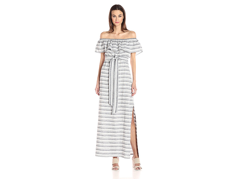 Vince Camuto Stripe Cotton Off Shoulder Maxi