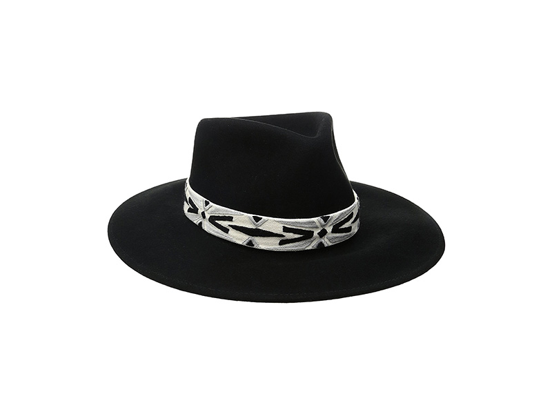 ale by alessandra Luna Felt Fedora With Hand Embroidered Trim