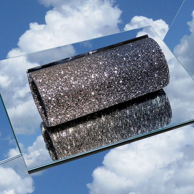 mytheresa.com x Jimmy Choo Trinket Glitter Clutch