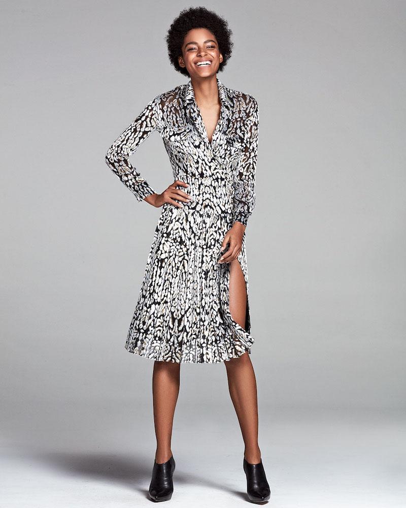 Adam Lippes Long-Sleeve Leopard-Print Wrap Dress