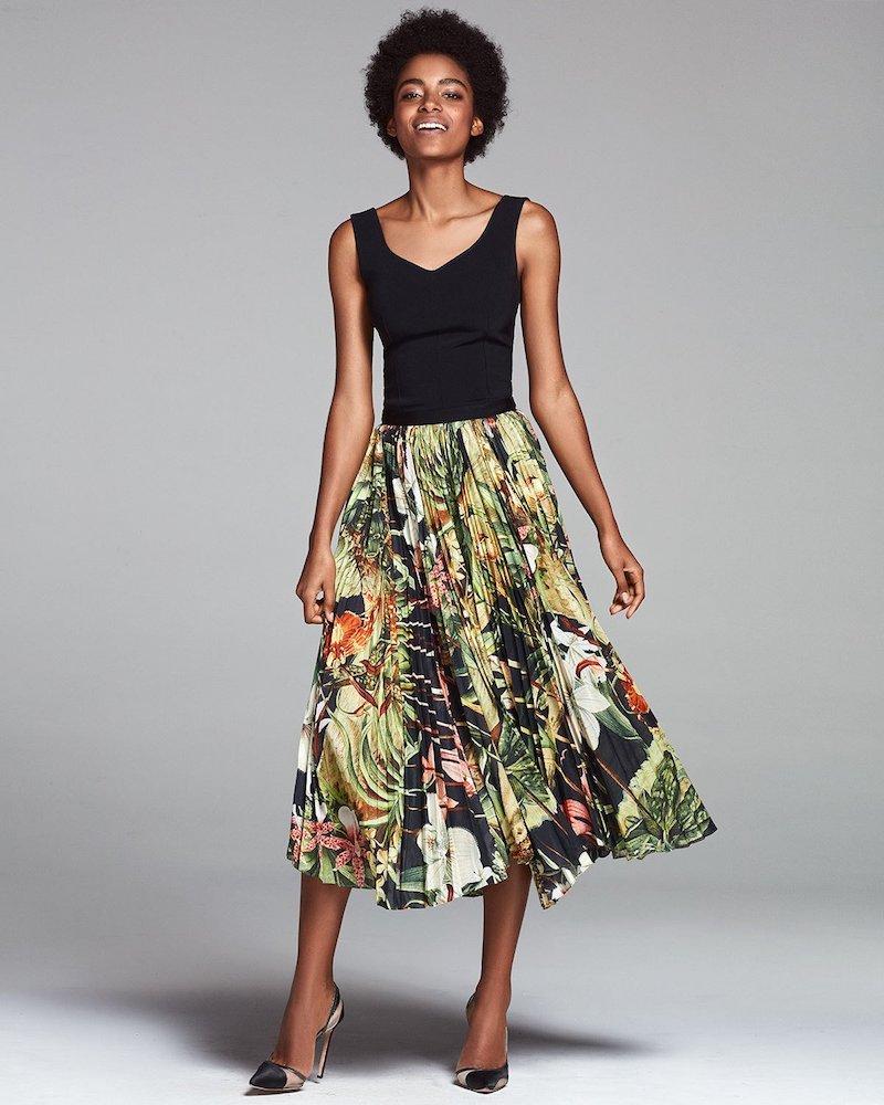 Adam Lippes Pleated Jungle-Print Skirt