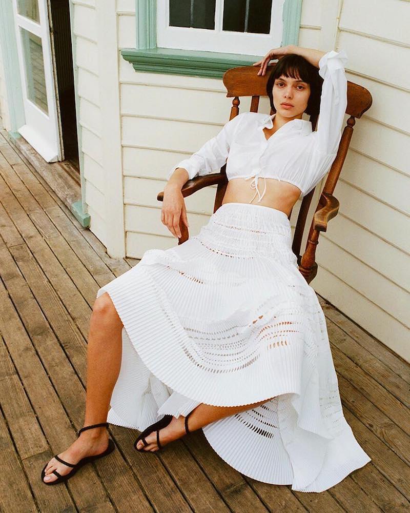 Alaïa Laser-Cut Pleated Cotton-Blend Maxi Skirt