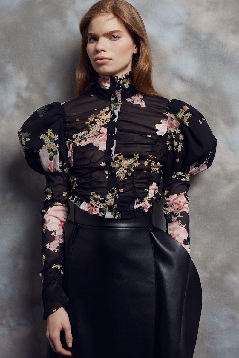 Alessandra Rich Black Floral Puff Sleeve Blouse