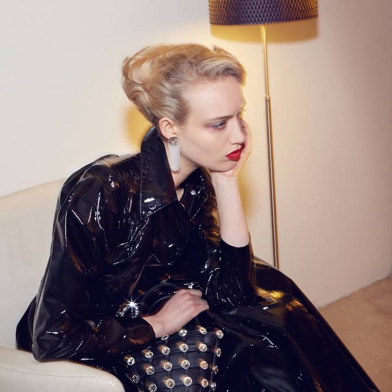 Alessandra Rich Black Vinyl Belted Coat