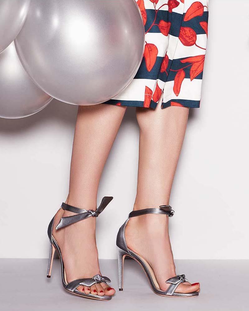 Alexandre Birman Clarita Satin Ankle-Tie Sandal in Gray