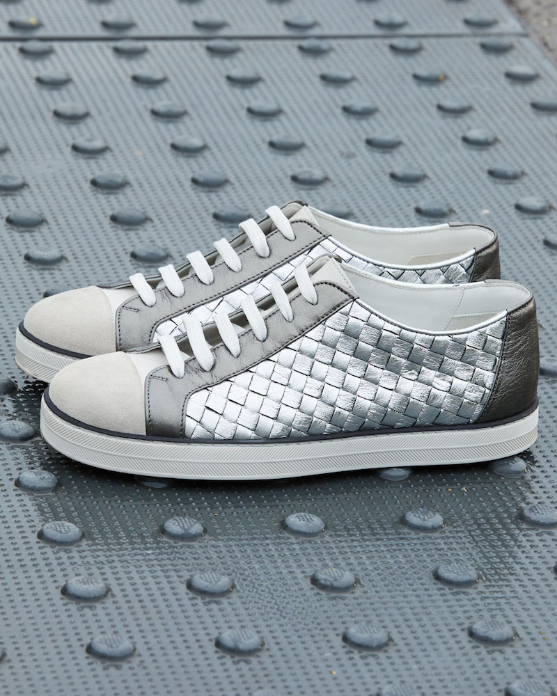 Bottega Veneta Metallic Woven Low-Top Lace-Up Sneaker