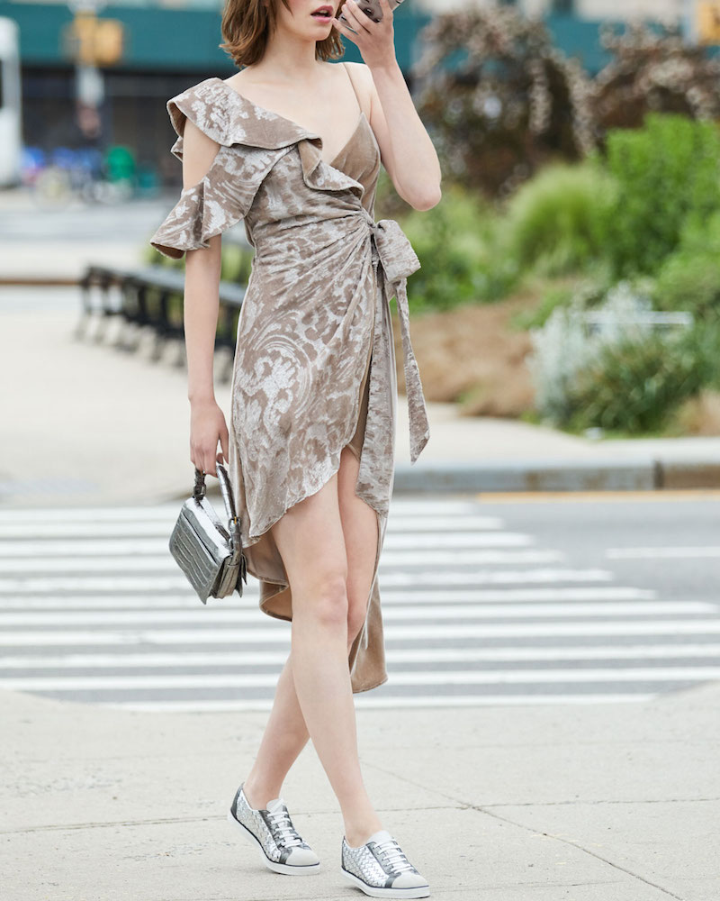 Bottega Veneta Metallic Woven Low-Top Lace-Up Sneaker