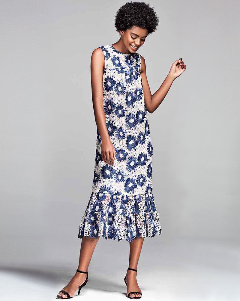 Co Embroidered Floral Lace Flared-Sleeve Flounce Dress