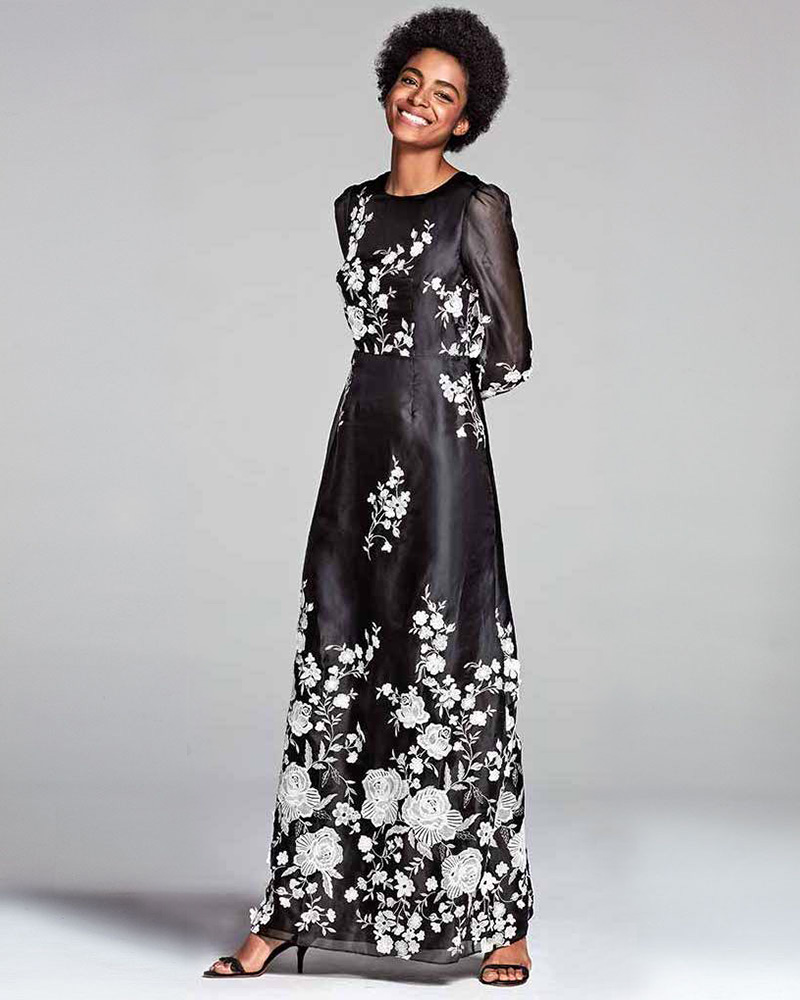 Co Floral-Embroidered Puff-Sleeve Gown