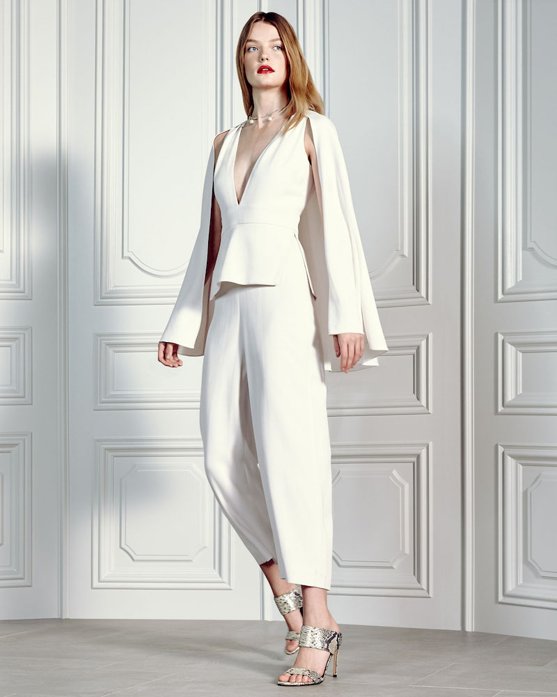 Cushnie et Ochs Plunging V-Neck Jumpsuit with Cape