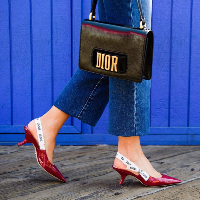 Dior J'Adior Leather Slingback Pump in Red