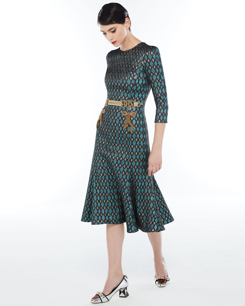 Dolce & Gabbana 3/4-Sleeve Geometric Jacquard Cocktail Dress with Embellished Waist