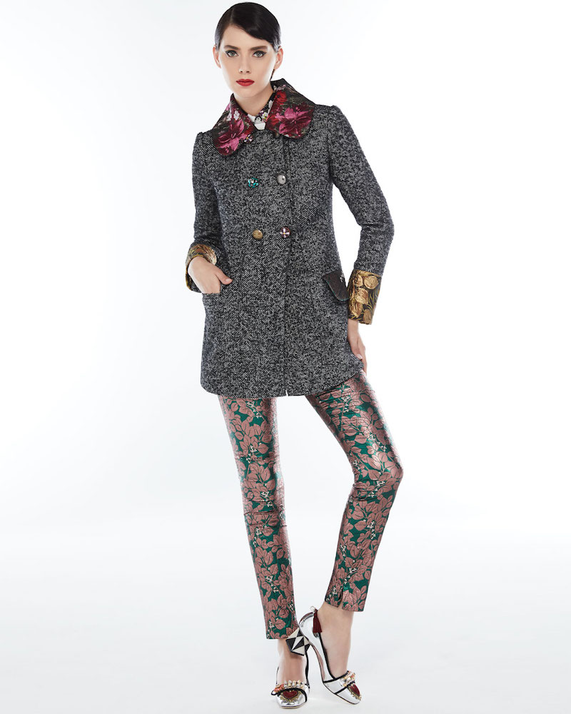 Dolce & Gabbana Double-Breasted Tweed Jacket with Floral Trim