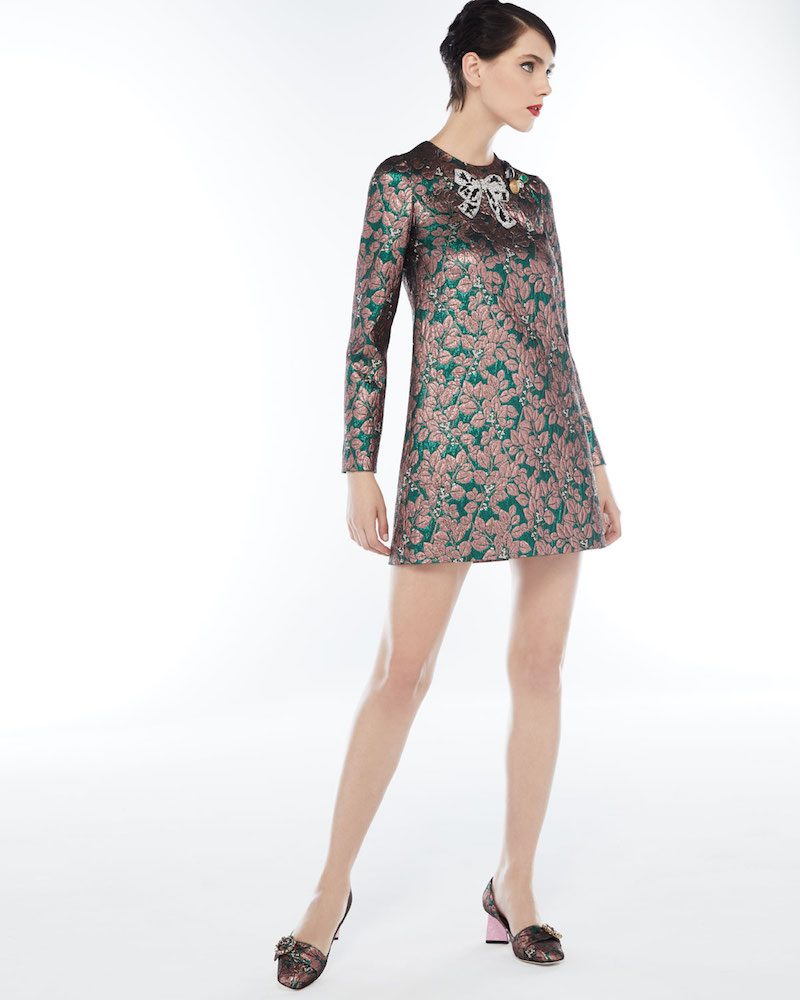 Dolce & Gabbana Long-Sleeve Metallic Jacquard Cocktail Dress