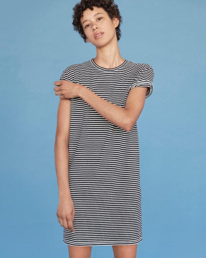 Everlane The Cotton Box-Cut Tee Dress in Mini Stripe