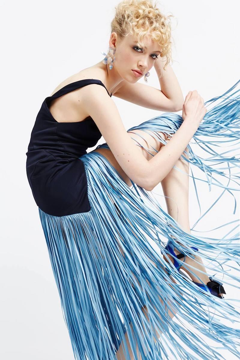 Galvan Midnight Carmen Fringed Dress