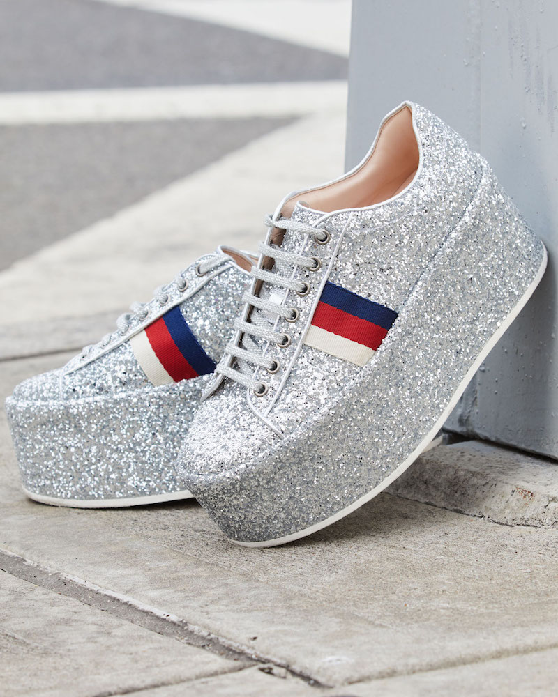 Gucci Peggy Glitter Platform Low-Top Sneaker