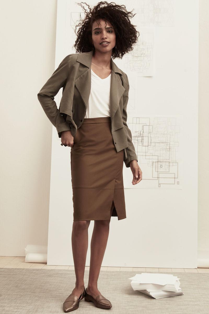 Halogen Faux Wrap A-Line Skirt