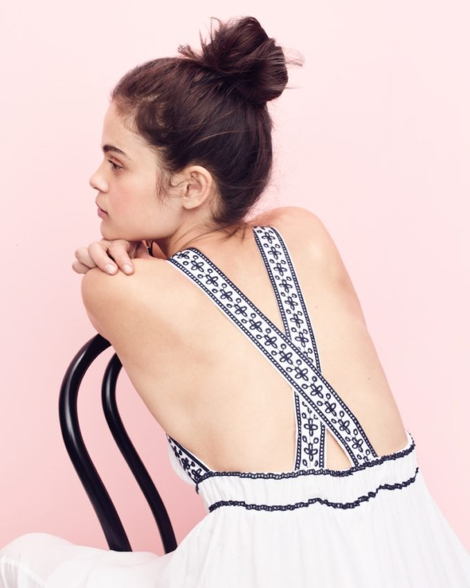 J.Crew Embroidered Cross-Back Maxi Dress