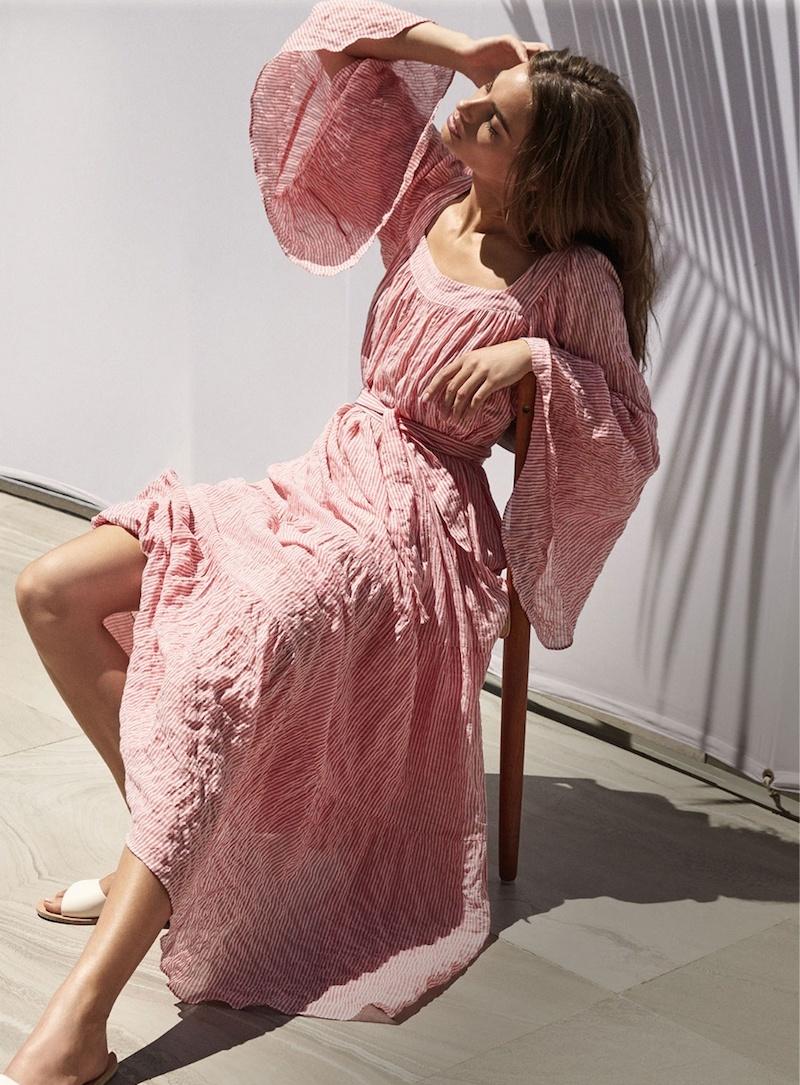 Lisa Marie Fernandez Ruffled Tie-Waist Striped Dress
