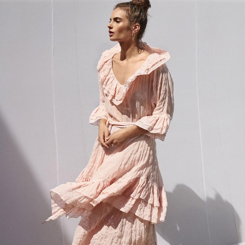 Lisa Marie Fernandez Ruffled V-Neck Striped Midi Dress