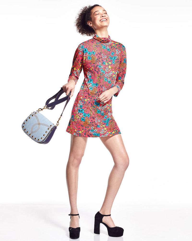 Marc Jacobs Brite Blossom Mock-Neck Shift Dress