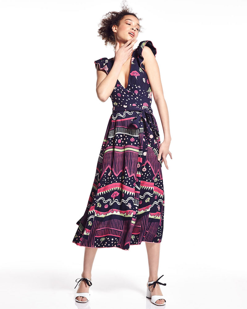 Marc Jacobs Floral-Print Flutter-Sleeve Midi Dress