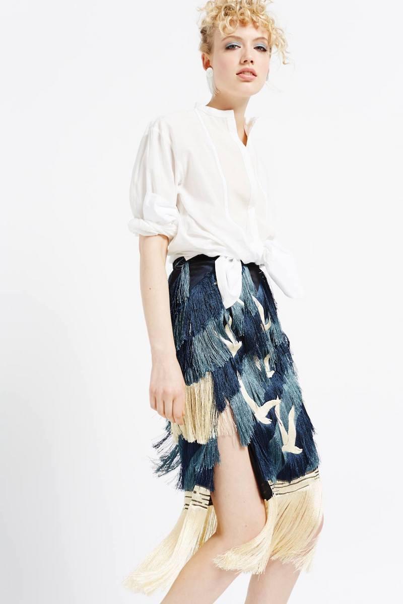 Marco de Vincenzo Black Tonal Fringe Embroidered Skirt